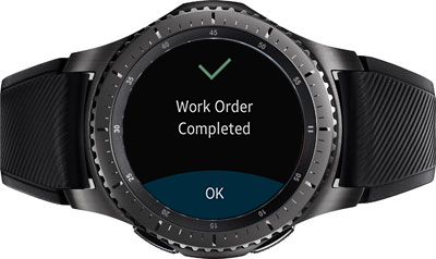 Image of the Contextere Intelligent Personal Agent installed on a Samsung Gear S3 Frontier smartwatch